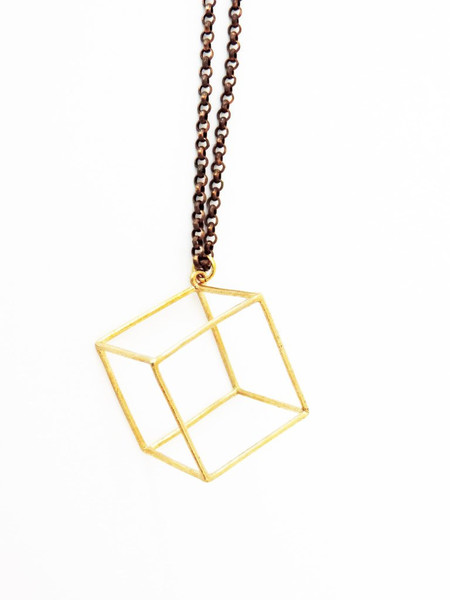 White Feather Designs Geometric 3D Cube Necklace