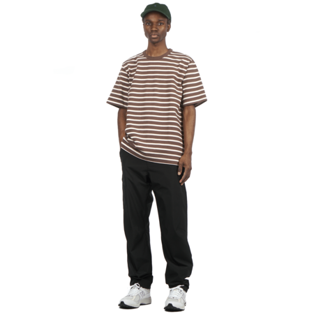 Norse Projects HOLGER SHORT SLEEVE COMPACT COTTON BOLD STRIPE T-SHIRT - HEATHLAND BROWN