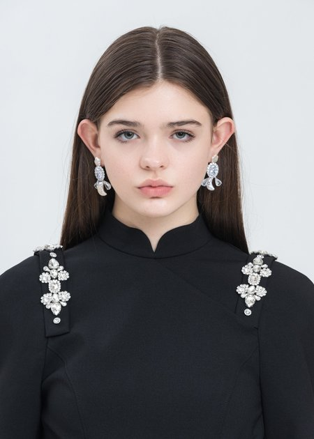 Shushu/Tong Star and Moon Pearling Right Earring - Silver