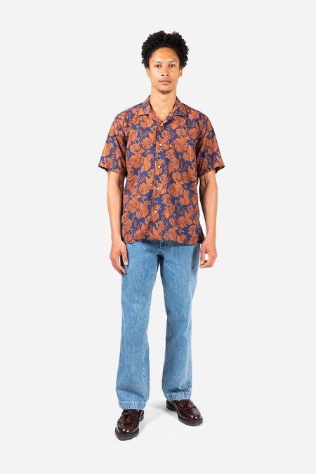 Gitman Bros. Floral Voile Camp shirt - Blue/Rust