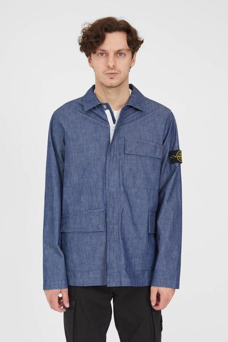 Stone Island Chambray Wash Overshirt - Blue
