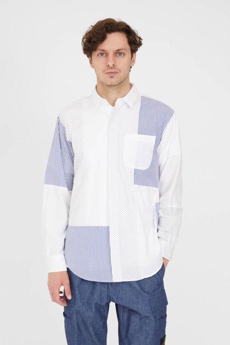 Engineered Garments Combo Short Collar Shirt - White 100's 2Play Broadcloth