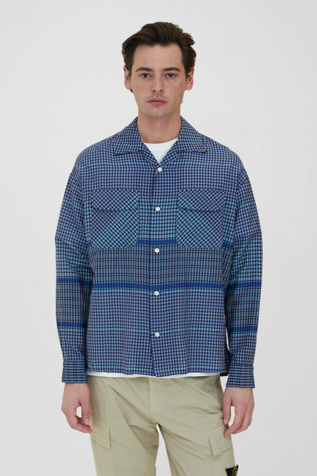 TS(S) Round Flap Pocket Baggy Wide Pitch Gingham Plaid Cotton Silk Cloth Shirt - Blue