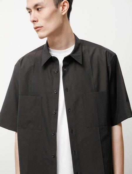 Auralee Washed Finx Ripstop Chambray SS Shirt - Black