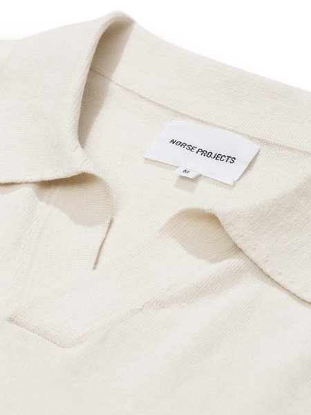Norse Projects Leif Cotton Linen Polo - Kit White
