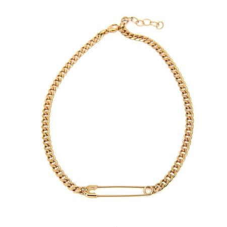 Godfrey and Rose Large Safety Pin Necklace - Gold Vermeil/White Sapphires