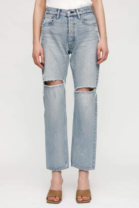 Moussy MV Teaneck Wide Straight Jeans - Light Blue