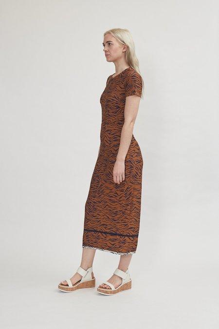 Rachel Comey Amara Dress in Tobacco Multi Zebra Foulard Jersey