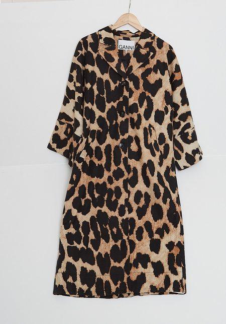 Ganni Linen Canvas Maxi Coat - Leopard