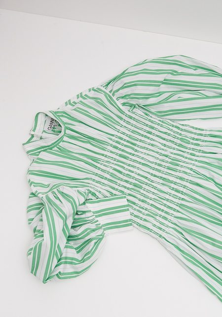 Ganni Stripe Cotton Smock Dress - Kelly Green