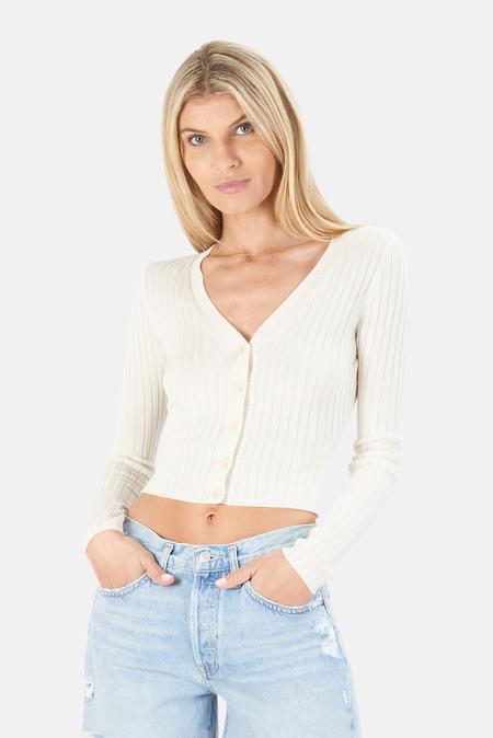NAADAM Ribbed Crop Cardigan Sweater - White