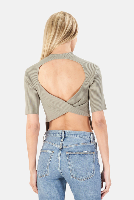 NAADAM Twist Back Top Sweater - Green