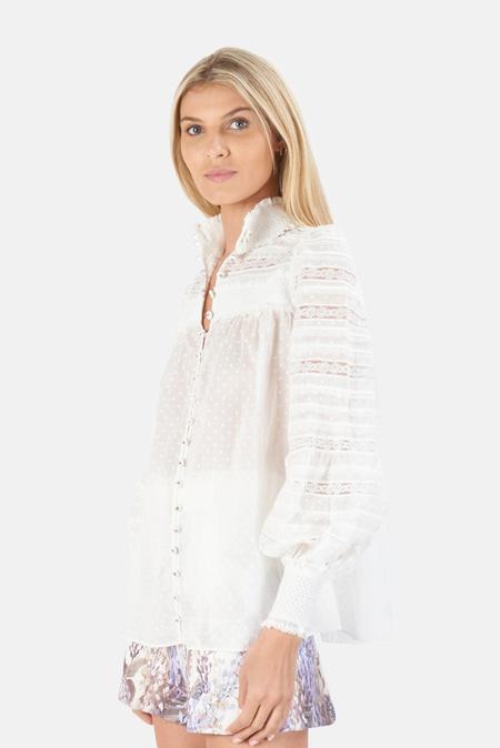 zimmermann Candescent Smocked Shirt - Natural