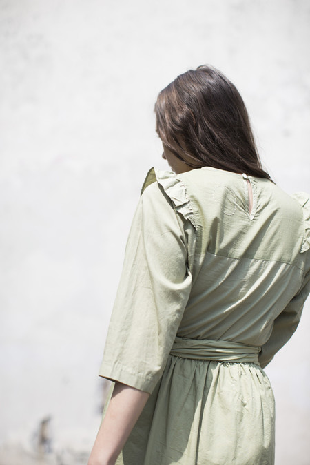Cosmic Wonder French Twill Frilled Blouse in Natural Green