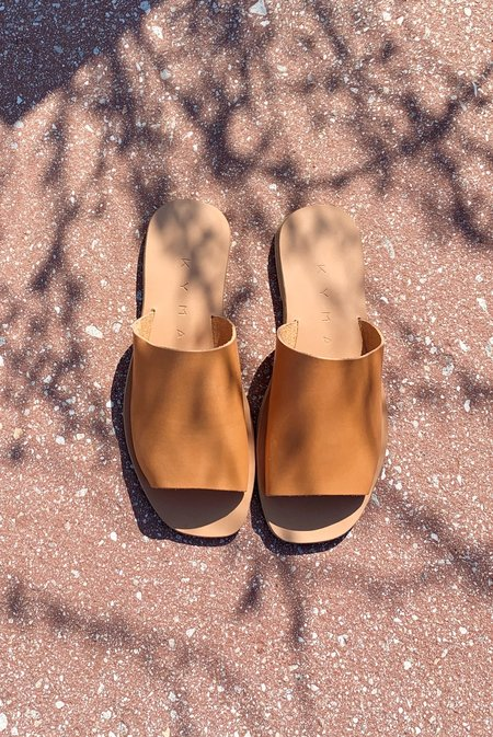 KYMA Kalymnos Square Open Toe Slides - Natural Tan