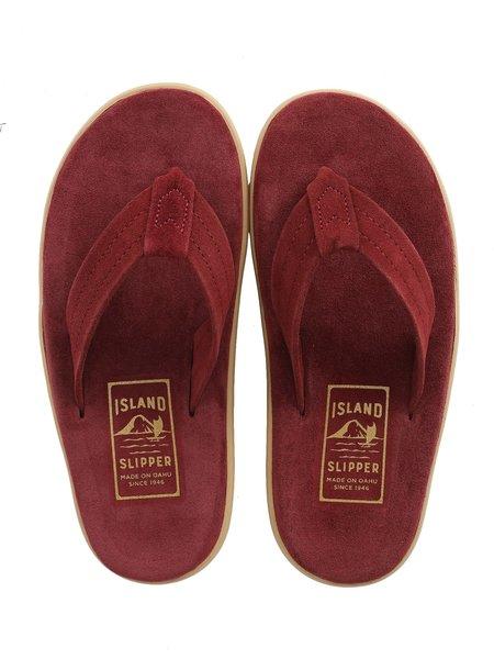 ISLAND SLIPPER Men Suede Thong Sandals - Burgundy Suede