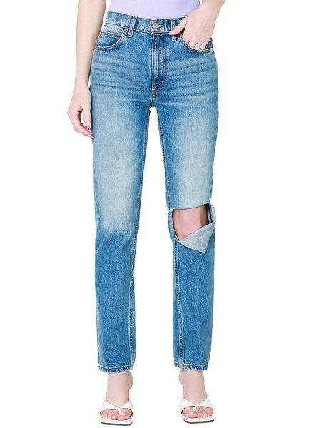 Re/Done 70s Straight Jeans With Rip - Daring Indigo