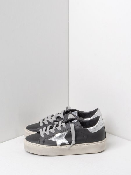 Golden Goose Hi Star Leather Sneakers - Black/Silver