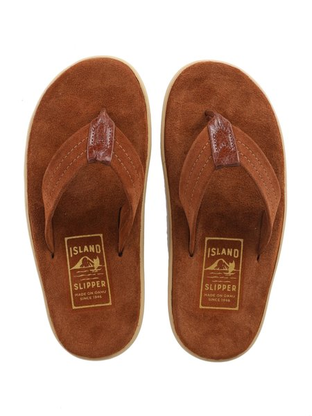 Island Slipper Suede with Leather Thong Sandal- PEANUTS/COGNAC
