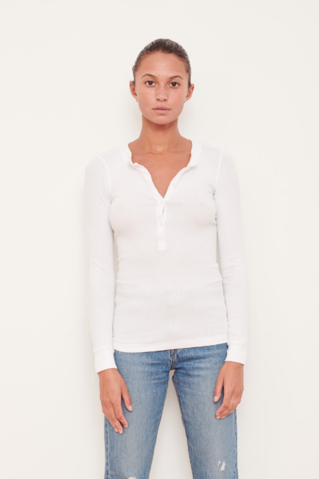 Stateside L/S Ribbed Henley top - white