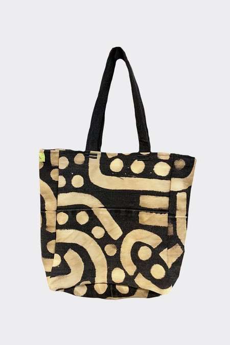 UNISEX INPERFECT DENIM PAINTED MINI TOTE - BLK/BRN