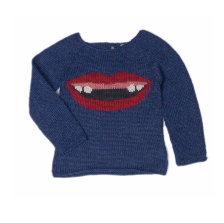 KIDS Oeuf Tooth Gap Sweater - blue