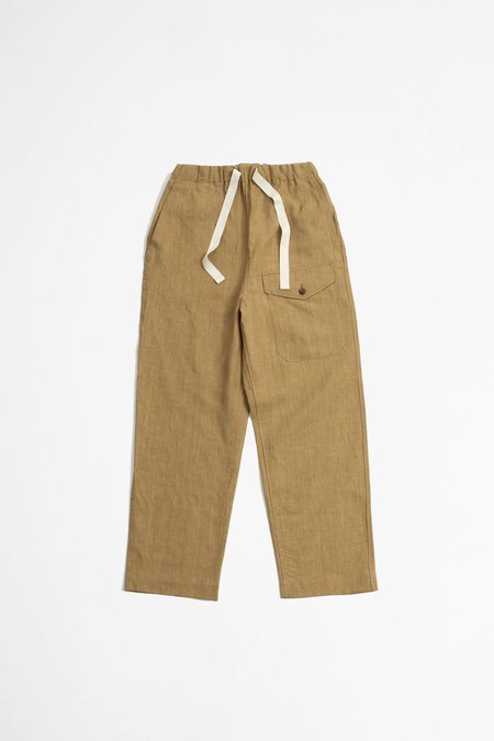 A Vontade Linen British Military Easy Trousers - Khaki Beige