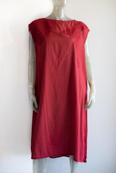 Moyuru Cotton Chiffon Dress - Red