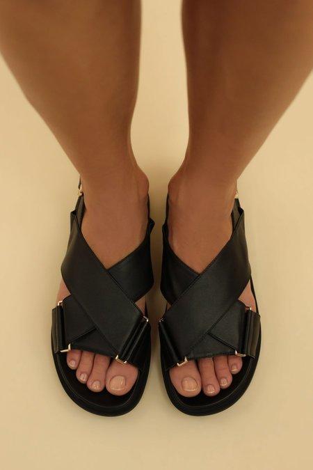 Ducie Carrie Leather Cross Over Sandal - Black
