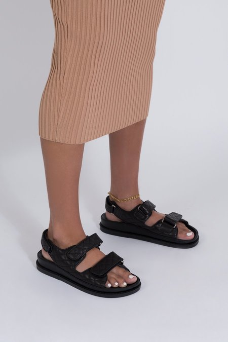 Ducie Sonia Quilted Sandal  - Black