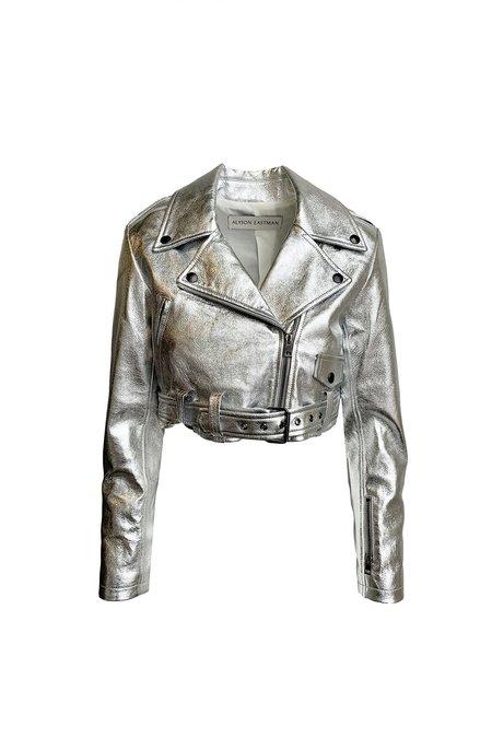 alyson eastman Crop Moto Jacket - Silver