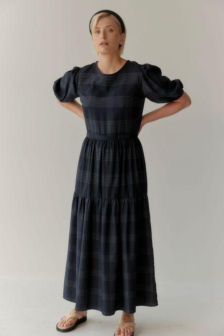 Mina Balance Dress - Navy Pinstripe