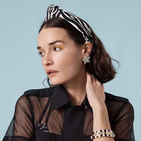 LeLe Sadoughi x Solid and Striped Knotted Headband - Zebra Jacquard