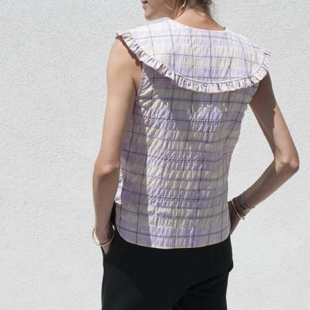 Ganni Cotton Poplin Sleeveless Shirt - Orchid Bloom