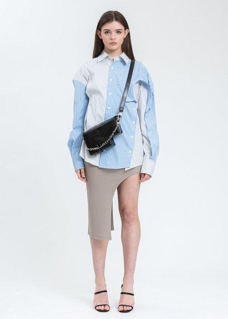 Feng Chen Wang Shine Faux Leather F Bag - Black