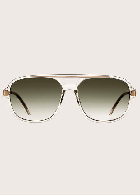 YMC Ringrose Stainless Steel and Acetate Sunglasses - Crystal/Graduated Green