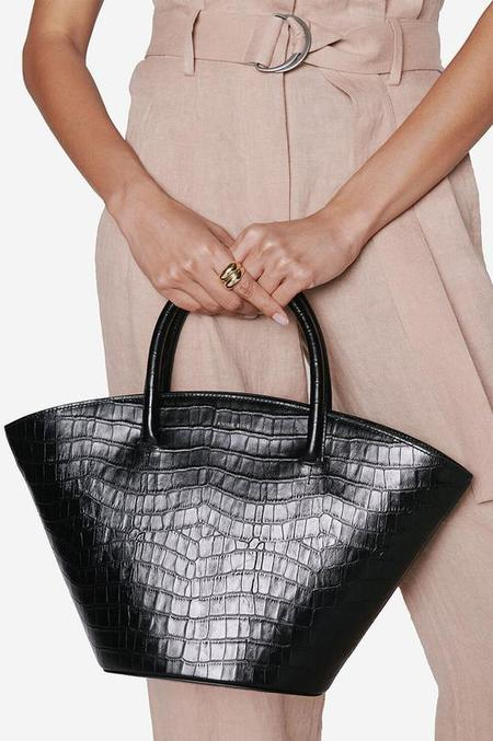 Anine Bing Mini Holland Bag - Black Croco