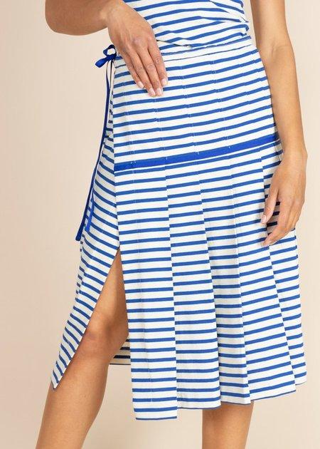 Echappees Belles Kaki Skirt - Blue Stripe