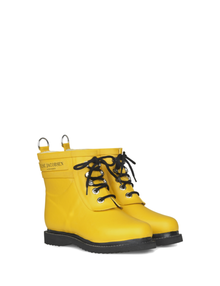 Ilse Jacobsen Short Rubber Boots with Laces - Yellow
