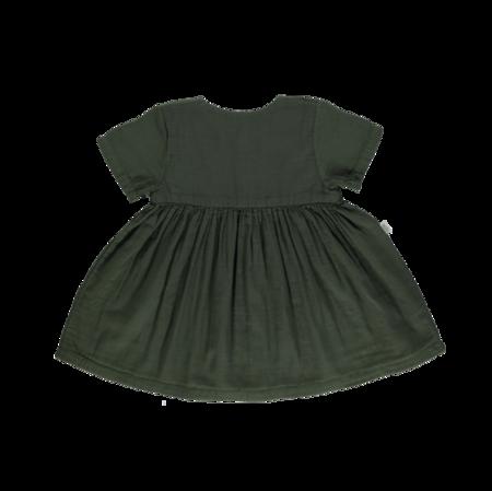 kids Poudre Organic Guarana Dress - Forest Green
