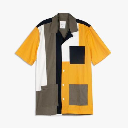 Wood Wood Brandon Poplin SS Button Up Shirt - Green Color Block