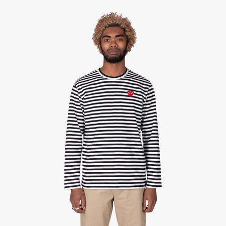 Comme des Garçons Play Red Heart Striped Long Sleeve T-shirt - Black/White