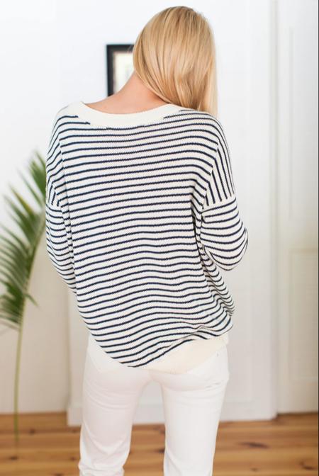 Emerson Fry Organic Striped Carolyn Sweater - Navy/Ivory Stripe