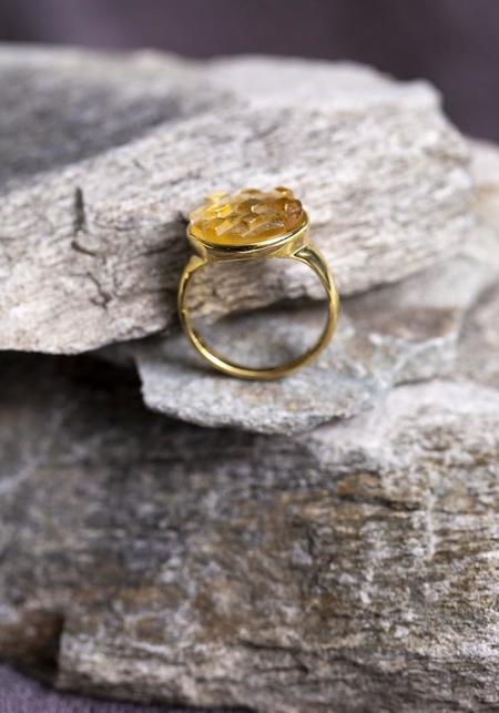 JACQUELINE ROSE Mosaic Ring - Gold Plated Sterling Silver/Citrine