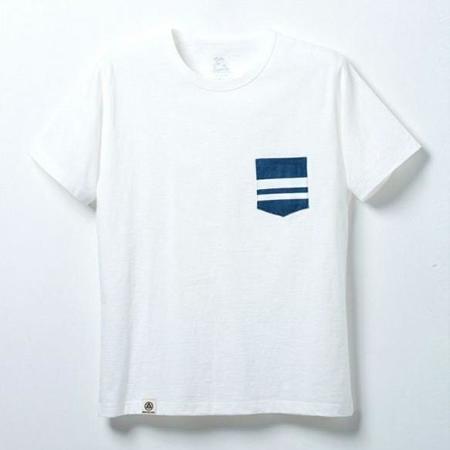 Momotaro Jeans Going to Battle Denim Pocket T-Shirt - White