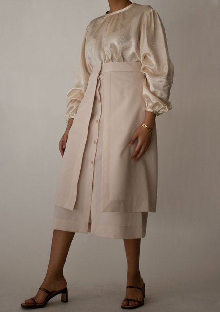 W A N T S Button Down Layered Midi Skirt - Beige