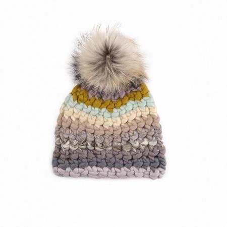 Mischa Lampert XL pom fds stripe beanie  - Raccoon