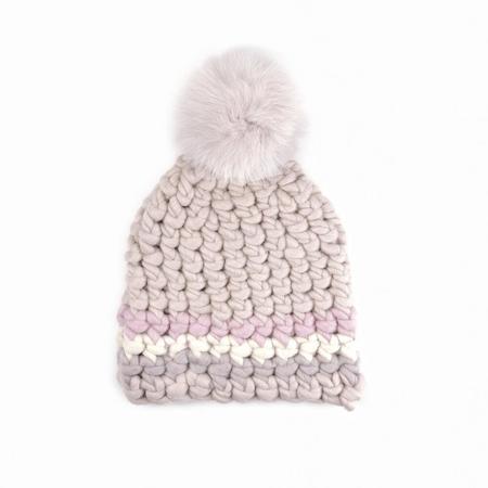 Mischa Lampert mystic stripe block nip pomster beanies - Baby pink