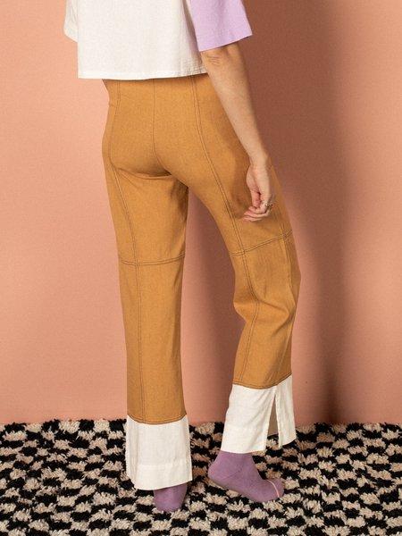 Pastiche Contrast Linen Pant - brown/white