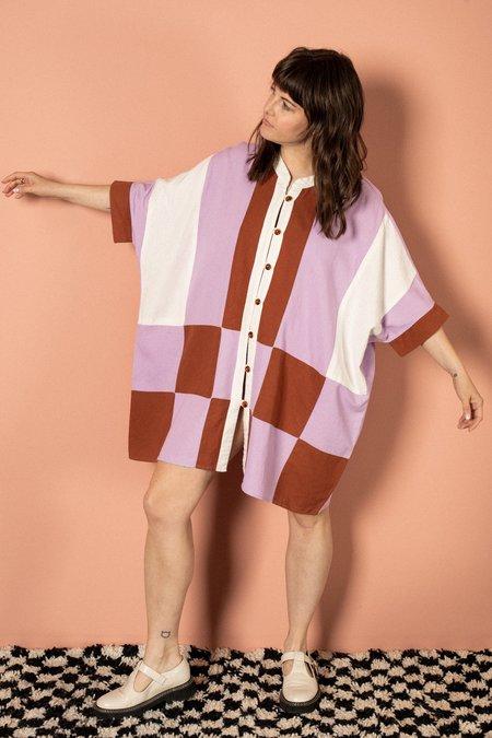 Pastiche Palmer Tunic - purple/white/brown
